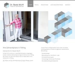 Screenshot Website Zahnarztpraxis Dr. Beate Würfl in Tittling