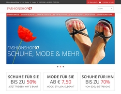 Screenshot Onlineshop fashionshop07.de