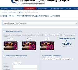 Online-Bestellformular Wertschecks Jugendtaxi