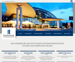 Screenshot Pfaffinger Unternehmensgruppe in Passau